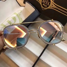 Men's Women's Dita Mach Round Metal Sunglasses Light Pink Gold