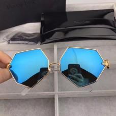 Percy Lau Dada Child Hexagon Sunglasses Blue Mirror