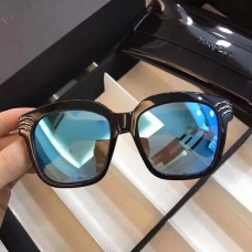 Percy Lau Fashion Square Frame Sunglasses Blue Lenses Black Frame