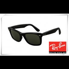 Ray Ban RB2151 Square Wayfarer Sunglasses Black Frame Green Lens