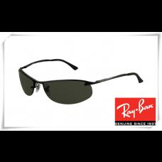 Ray Ban RB3179 Top Bar Oval Sunglasses Black Frame Deep Green Lens