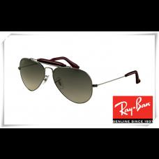 Ray Ban RB3422Q Aviator Sunglasses Gunmetal Frame Grey Gradient Green Lens