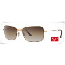 Ray Ban RB3514 Sand Demi Glos Sunglasses Golden Frame Grey Gradient Lens