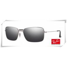 Ray Ban RB3514 Sand Demi Glos Sunglasses Silver Frame Grey Mirror Lens