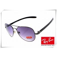 Ray Ban RB8307 Aviator Tech Sunglasses Carbon Fibre Grey Frame Purple Gradient Lens