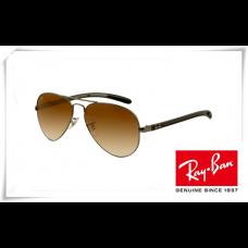 Ray Ban RB8307 Aviator Tech Sunglasses Carbon Fibre Gunmetal Frame Brown Gradient Lens