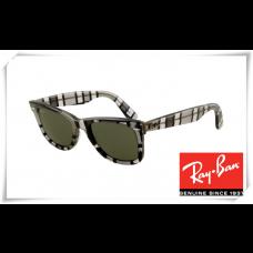 Ray Ban RB2140 Original Wayfarer Sunglasses Black White Grey Stripe Frame Green Lens