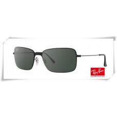 Ray Ban RB3514 Sand Demi Glos Sunglasses Black Frame Deep Green Lens