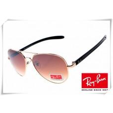 Ray Ban RB8307 Aviator Tech Sunglasses Carbon Fibre Gold Black Frame Brown Gradient Lens