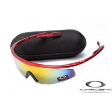 Cheap Replica Oakley M2 Frame Sunglasses Polishing Red Frame Yellow Blue Lens