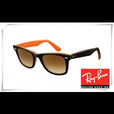 Ray Ban RB2140 Original Wayfarer Sunglasses Top Black Orange Frame Brown Gradient Lens