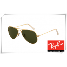 Ray Ban RB3044 Aviator Small Metal Sunglasses Arista Frame Green Lens