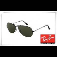 Ray Ban RB3362 Cockpit Sunglasses Shiny Black Frame Crystal Green Lens