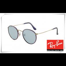 Ray Ban RB3475Q Round Craft Sunglasses Violet Frame Blue Legend Lens