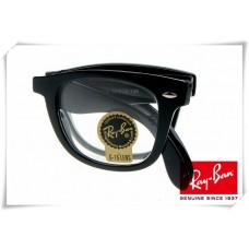 Ray Ban RB4105 Folding Wayfarer Sunglasses Black Frame Clear G-15 Lens