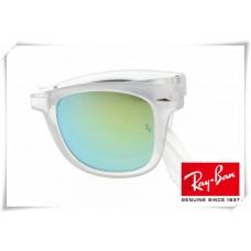 Ray Ban RB4105 Folding Wayfarer Sunglasses Transparent Frame Fire Blue Lens