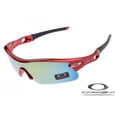 Oakley Radar Pitch Sunglasses Polishing Red Frame Blue Gray Iridium Lens OAKLEY20156089