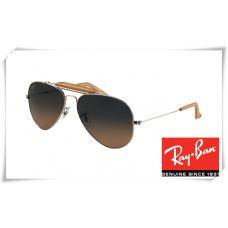Ray Ban RB3422Q Aviator Sunglasses Arista Frame Grey Gradient Brown Lens