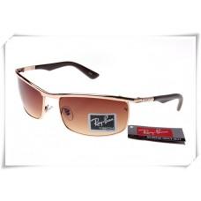 Ray Ban RB3459 Sunglasses Golden Black Frame Brown Gradient Lens