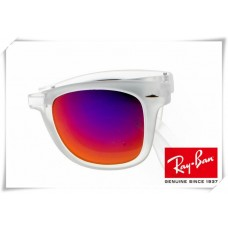 Ray Ban RB4105 Folding Wayfarer Sunglasses Transparent Frame Dark Fire Blue Lens