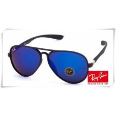 Ray Ban RB4180 Aviator Sunglasses Black Frame Blue Mirror Lens