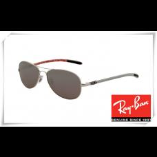 Ray Ban RB8301 Tech Sunglasses Matte Silver Frame Polar Grey Lens