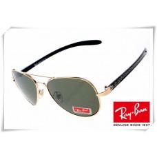 Ray Ban RB8307 Aviator Tech Sunglasses Carbon Fibre Gold Black Frame Classic Green Lens