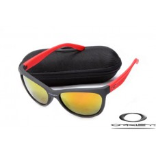 Oakley Fringe Women Sunglasses Frosting Red Black Frame Fire Yellow Iridium Lens OAKLEY20156175