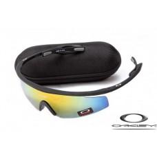 Oakley M Frame Sunglasses Frosting Black Frame Yellow Blue Iridium Lens OAKLEY20156150