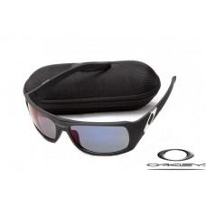 Oakley Sideways Sunglasses Black Frame Deep Blue Iridium Lens OAKLEY20156120