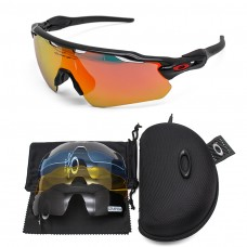 Oakley 2.3 radar ev sunglasses black frame red logo