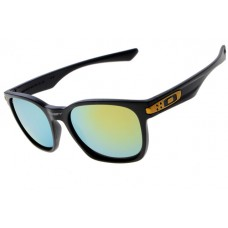 Oakley Garage Rock Sunglasses Round Black Frame Fire Blue Iridium Lens