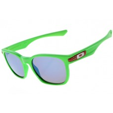 Oakley Garage Rock Sunglasses Round Green Frame Blue Grey Iridium Lens