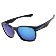Oakley Garage Rock Sunglasses Round Matte Black Frame Blue Iridium Lens