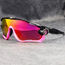 Oakley Sunglasses Jawbreaker pink/black Frame fire Iridium Lens silver logo