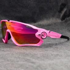 Oakley Sunglasses Jawbreaker pink Frame fire Iridium Lens black logo