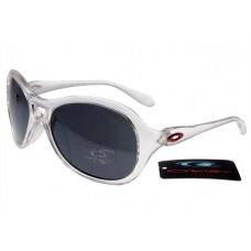 Oakley Women Overtime Round Sunglasses Crystal Clear Frame Gray Lens