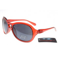 Oakley Women Overtime Round Sunglasses Crystal Red Frame Grey Lens