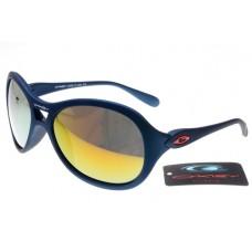 Oakley Women Overtime Round Sunglasses Matte Blue Frame Fire Yellow Lens