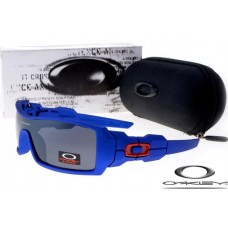 Oakley Oil Rig Sunglasses Polishing Blue Frame Gray Iridium Lens