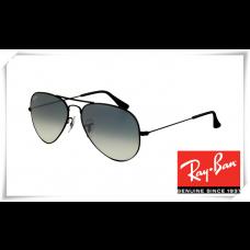 Ray Ban RB3025 Aviator Sunglasses Black Frame Blue Gradient Gray Lens
