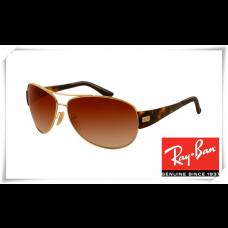 Ray Ban RB3467 Sunglasses Tortoise Gold Frame Brown Gradient Lens