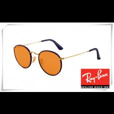 Ray Ban RB3475Q Round Craft Sunglasses Purple Frame Orange Lens