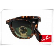 Ray Ban RB4105 Folding Wayfarer Sunglasses Black Fleck Frame Green G-15 Lens