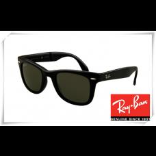 Ray Ban RB4105 Folding Wayfarer Sunglasses Black Frame Natural Green Lens