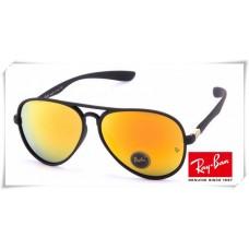 Ray Ban RB4180 Aviator Sunglasses Black Frame Yellow Mirror Lens
