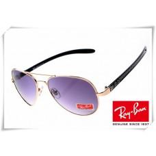 Ray Ban RB8307 Aviator Tech Sunglasses Carbon Fibre Gold Black Frame Purple Gradient Lens