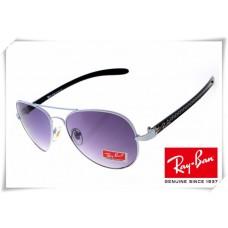 Ray Ban RB8307 Aviator Tech Sunglasses Carbon Fibre White Black Frame Purple Gradient Lens