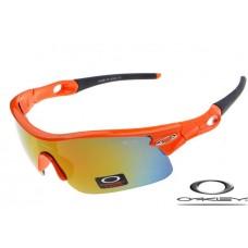 Wholesale Fake Oakley Radar Pitch Sunglasses Polishing Orange Frame Yellow Blue Lens