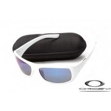 Oakley Sideways Sunglasses White Frame Blue Lens OAKLEY20156374